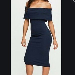 Missguided Navy Cut Out Midi Dress Size 6 NWT